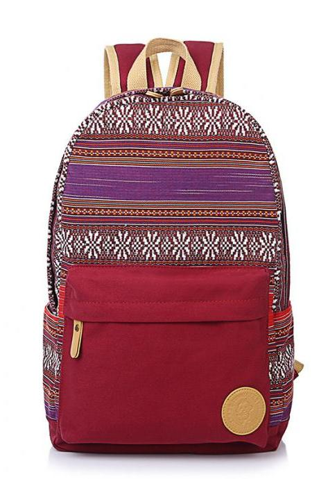 Ethnic Print Canvas Travel School Backpack Bag