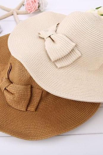 New Fashion Women's Foldable Wide Brim Bowknot Decoration Beach Straw Hat Cap