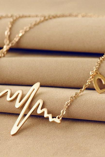 ECG heart Shape Fashion Clavicle Color Gold Alloy Necklace