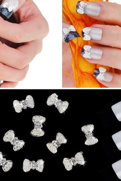Silver Bowknot Nail Art Glitters Slices DIY Decoration Alloy Rhinestones 10pcs