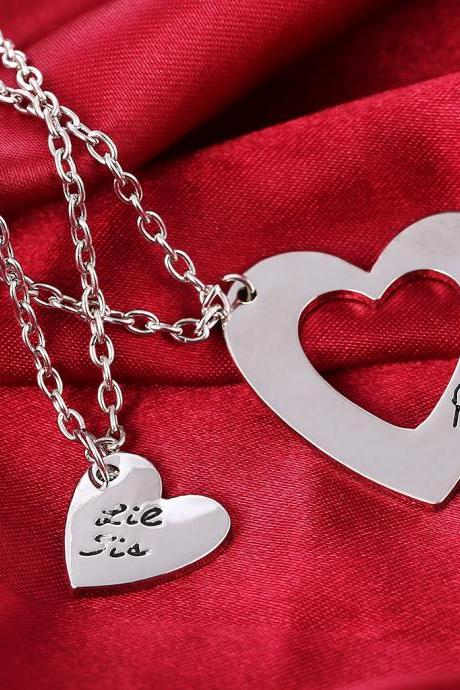 Creative Gifts Soulmate Letter Print Lovers Heart-Shaped Necklace