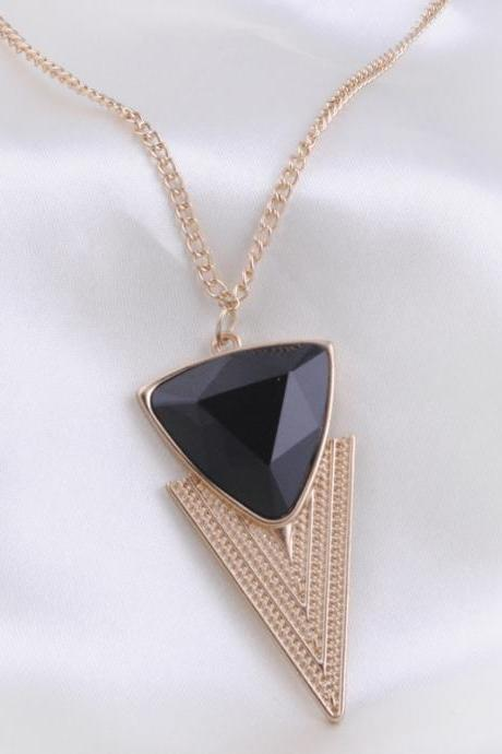 European Fashion Triangle Gemstone Sweater Necklace