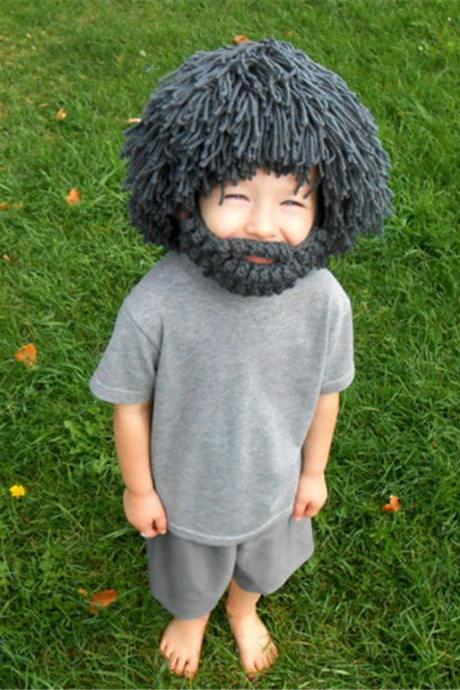 Funny Hand Knitted Woolen Wig Beard Hat