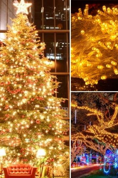 10M 100 LED Yellow Lights Decorative Christmas Party Festival Twinkle String Lamp Bulb With Tail Plug 220V EU