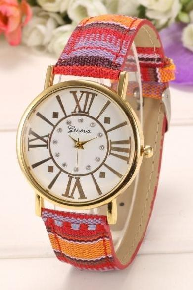 New Women National Style Round Wristwatch Quartz Battery Analog Casual Sports Watch