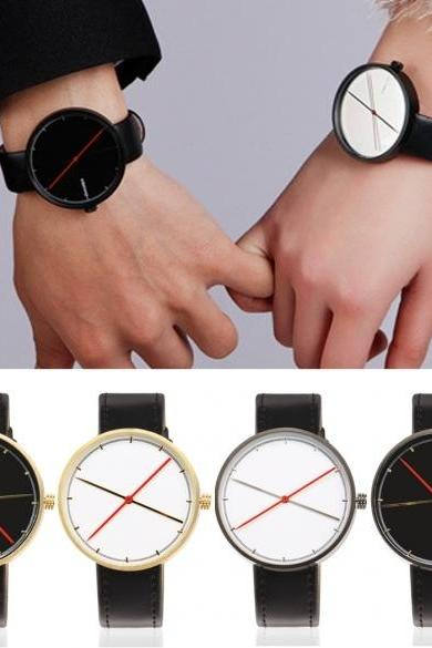New Fashion Personality Unisex Quartz Analog Synthetic Leather Band Wrist Watch