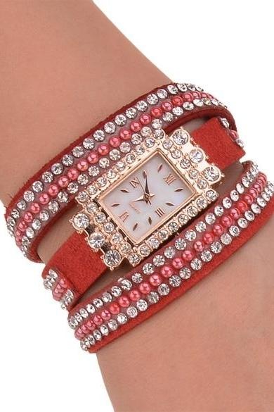 Fashion Women's Sequin Button Circle Chain Dial Bracelet Wrist Watch