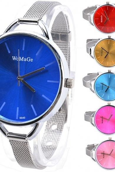 New Fashion Women's Casual Minimalist Stainless Steel Strap Wrist Watch