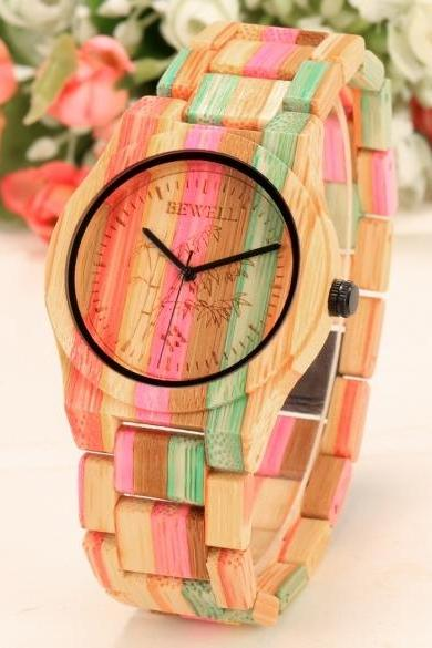 Fashion Unisex Bamboo Round Dial Quartz Watch Wristwatch