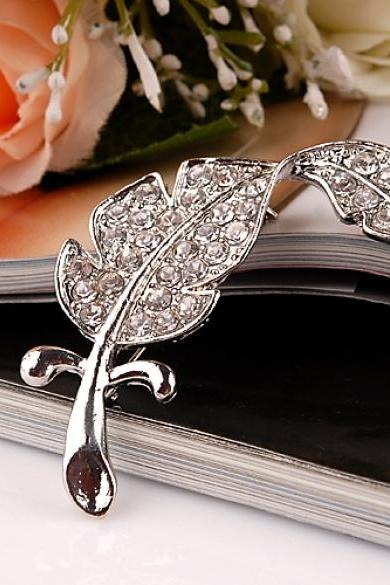 Elegant Women Lady Feather-Like Leaf Rhinestone Breastpin Brooch Pin Decoration