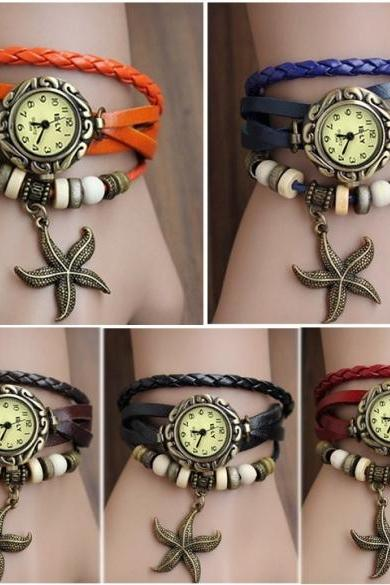 Stylish Quartz Weave Wrap Synthetic Leather Bracelet Women's Wrist Watch