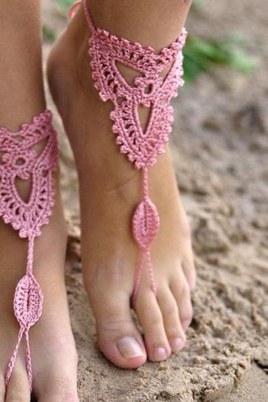 High Quality Hot Fashion Lady Women's Handmade Crocheted Foot Showcase Lace Anklets