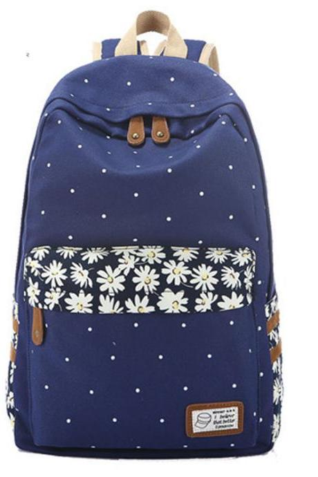 Polka Dot Print Little Flower Detail Canvas Backpack