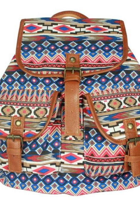 National Style Shoulder Canvas Students Backpack Bag