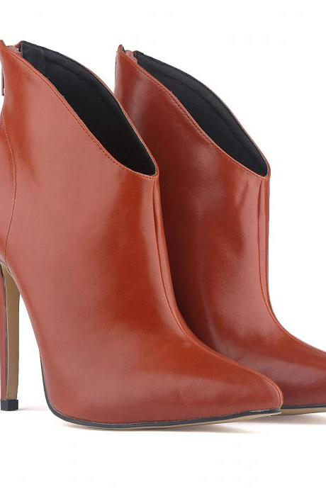 Patent Leather Pointed-Toe High Heel Ankle Boots Featuring Back Zipper