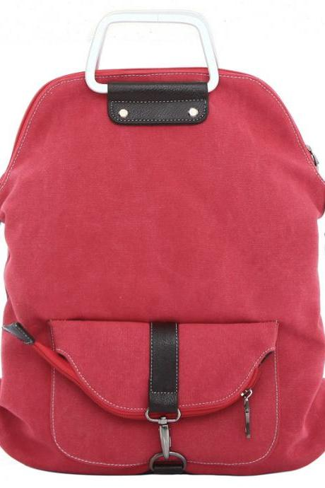 Foldable Pure Color Leather Hardware Canvas Backpack