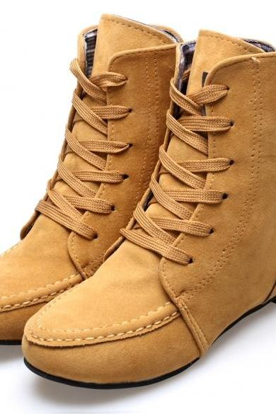 Fashion Women Round Toe Martin Boots Lace-up Invisible Heel Ankle Boots Shoes 4 Colors