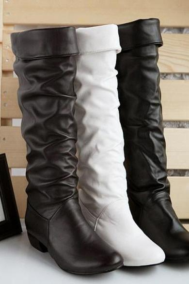 Women's Grace Devise Round Toe Synthetic Leather Flat Knee High Boots