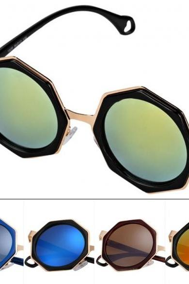 Fashion Cool Women Mirror Lenses Polygon Frame Sunglasses