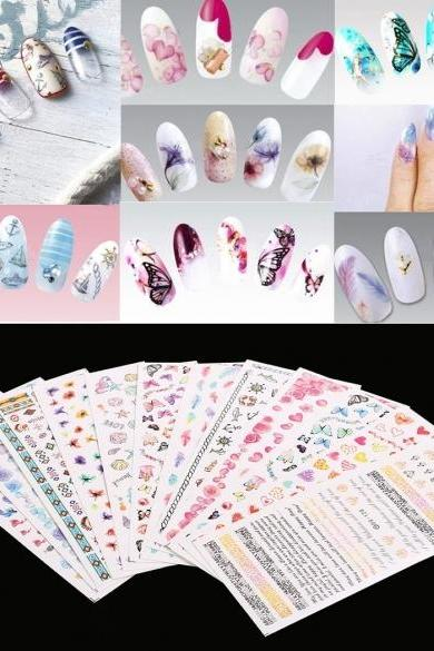 12 Sheet Nail Art Design Water Transfer Nails Sticker Colorful Nails Wraps Decals