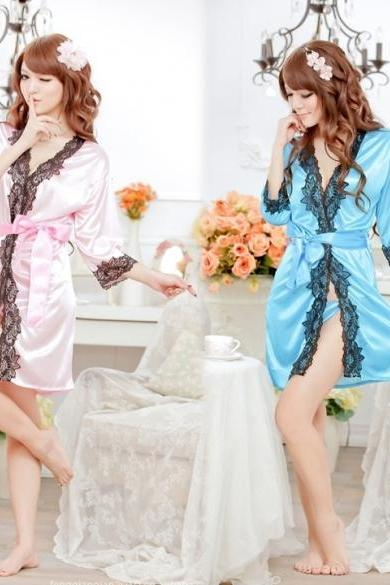 Women's Sexy Lingerie Lace Robe Pajamas Nightgown Nightwear+ G-String