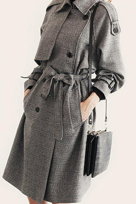Turn-down Collar Long Sleeves Double Button Long Wool Coat