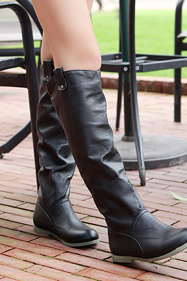 Leisure Flat PU Knight High Boots