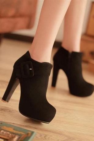 Unique Belt Buckle High Heels Zipper Ankle Boots