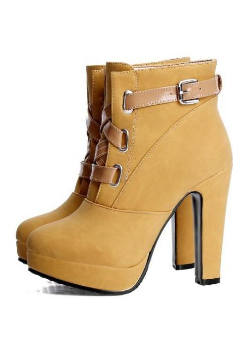 Unique Chunky Heel Winter Lace Up Buckle Martin Boots