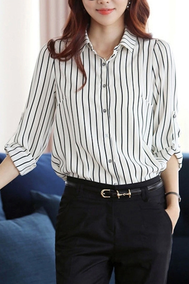 Striped Chiffon Button Down Shirt Featuring Foldable Long Sleeves for Plus Size