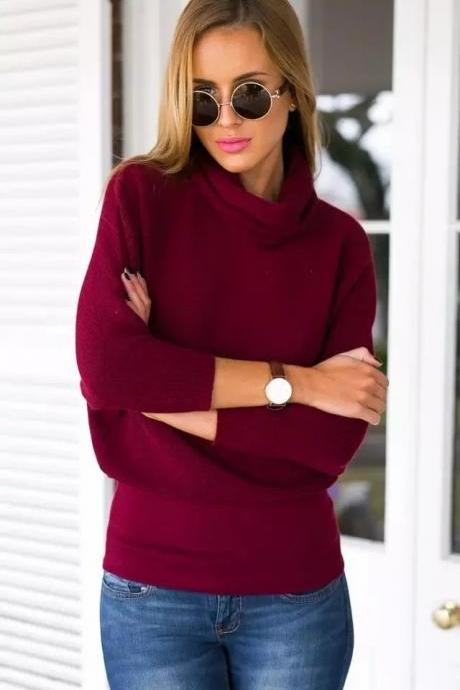 High-neck Solid Loose European Pullover Long Sweater