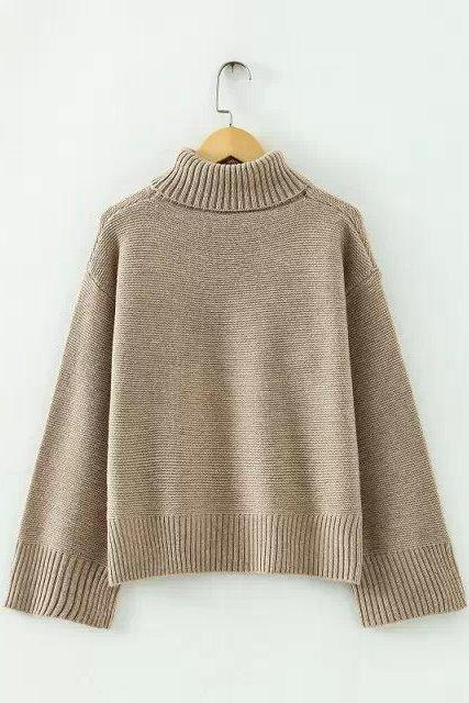 High Neck Flared-Sleeve Knitted Sweater