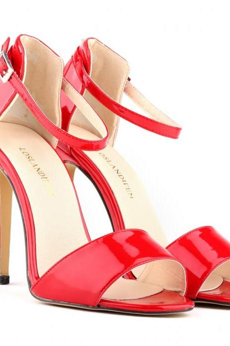 Sexy High-Heeled Peep-Toe Patent Leather Sandals