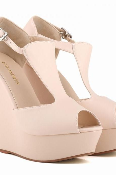 Roman Style High-Heeled Peep Toe Wedge Sandals