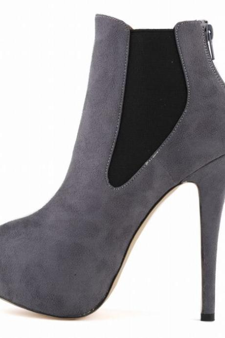 Autumn/Winter Night Club Patchwork Elastic Suede Boots