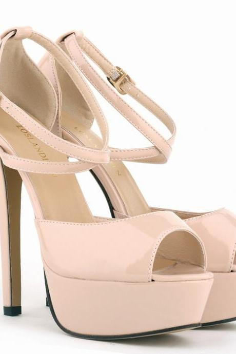 Peep Toe Cross Strap High Heeled Sandals