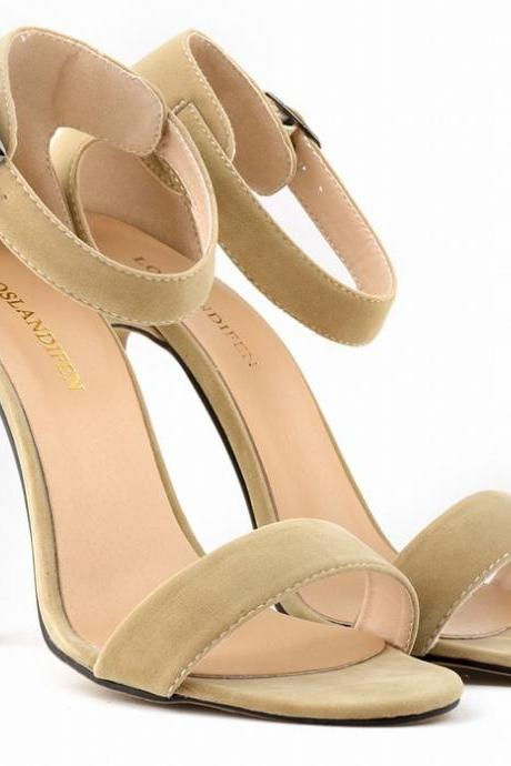 Faux Suede Ankle Strap High Heel Sandals