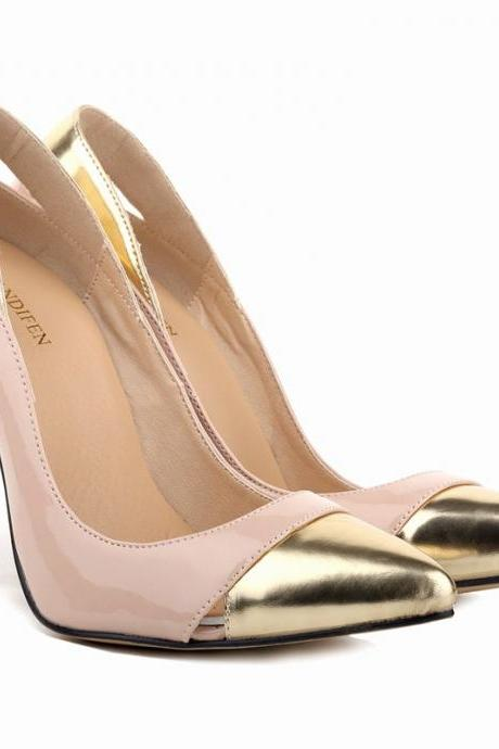 High Quality Color Matching Pointed Heel Shoes