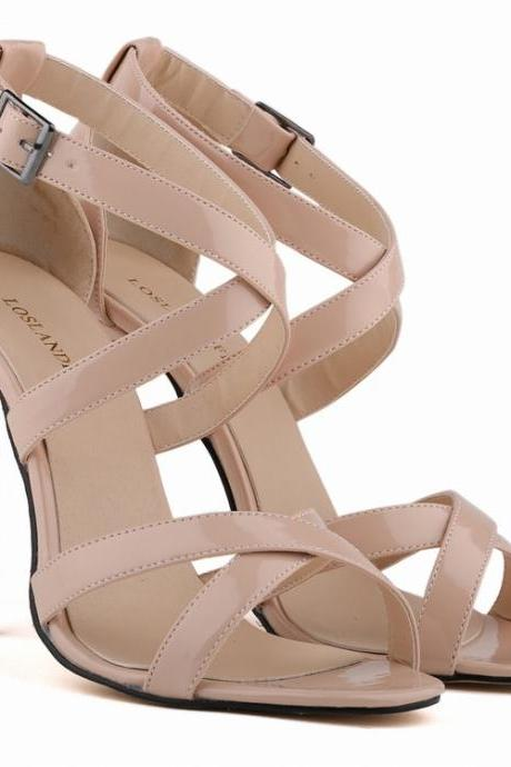 Patent Leather Criss-Cross Ankle Straps High Heel Sandals