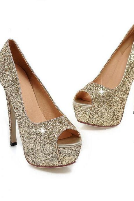 Glitter Peep-Toe Platform High Heel Stilettos, Party Heels
