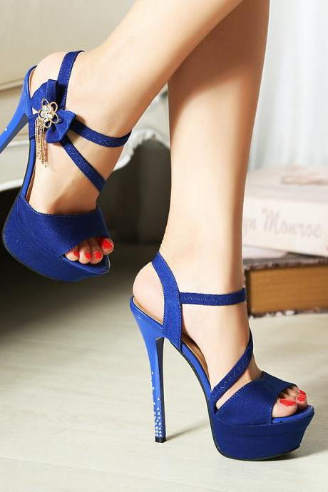 Fashionable Club Diamond Flowers High-Heeled Sandals