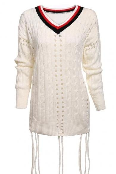 Fashion Women's V-Neck Long Sleeve Hollow Out Loose Tassel Sweater