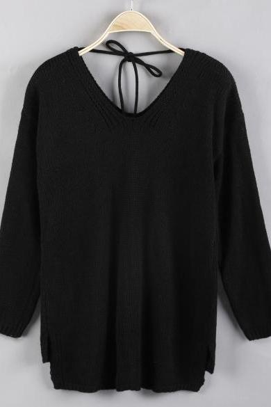 Fashion Women's V-Neck Long Sleeve Solid Loose High Low Hem Sweater