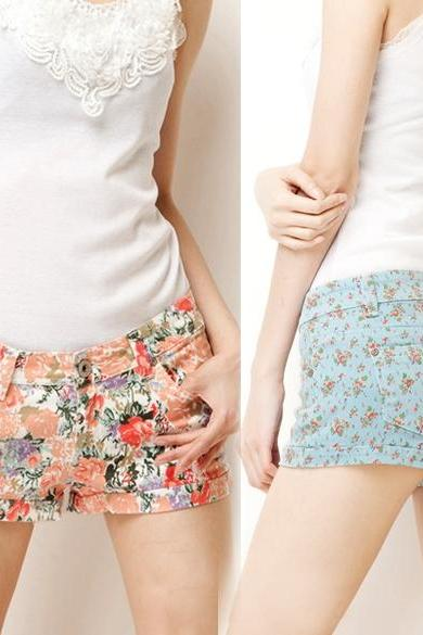 Fashion Lady's Floral Printing Casual Jeans Short Trousers Pants Hot Shorts 4Colors