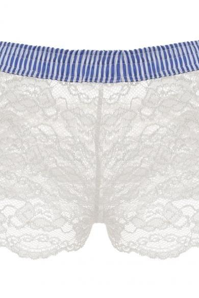 Women Sexy Elastic Wist Stripe White Hollow Lace Short Boxer