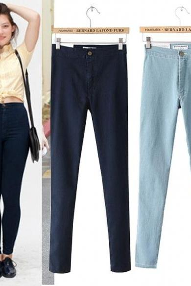 New Arrival Women's Jeans Pants Elastic Denim High Waist Pencil Pants