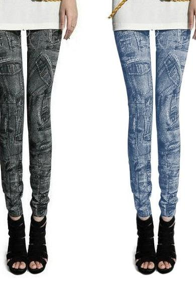 Women Fashion Jeggings Stretch Skinny Leggings Tights Pencil Pants Casual Pocket Pattern Jeans