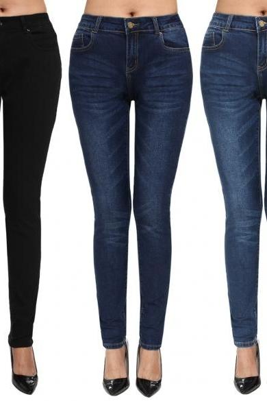 ANGVNS Fashion Women Casual Solid Long Jeans Skinny Denim Slim Jeans Pants