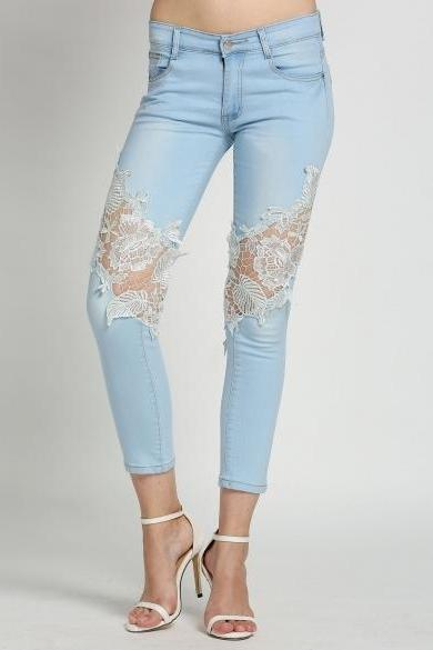 Fashion Women's Slim Skinny Lace Crochet Stretch Denim Jeans Pants Trousers