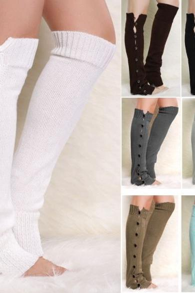 New Fashion Winter Women's Knit Crochet Button Leg Warmer Boot Leggings??Socks